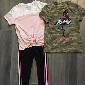 Abercrombie Kids size 5/6 t shirts and leggings